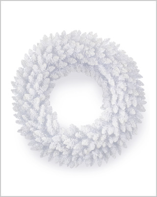 24 Inch Flocked White Fir Artificial Christmas Wreath With Clear Lights