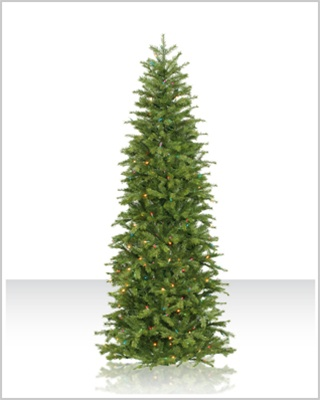 7.5 Foot Redwood Slim Artificial Christmas Tree with Multi Lights
