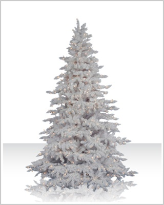 7.5 Foot Flocked White Spruce Artificial Christmas Tree with Clear Lights