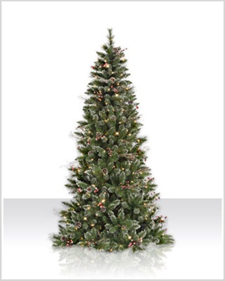 4.5 foot Snow Tipped Berry Pine Christmas Tree with Clear Lights