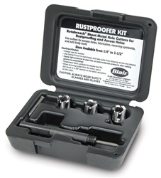 "Rustproofer cutter kit contains three 1/2"" Rotabroach Cutters"