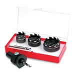 Small hole cutter kit for automotive hole making