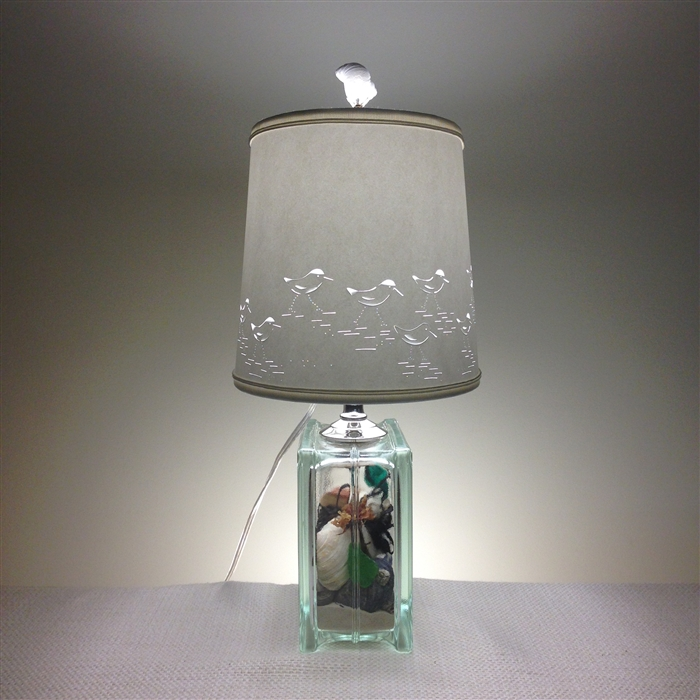 Sandpiper shade and filled glass block lamp