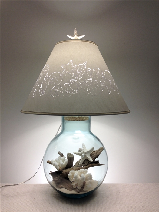 Fillable lamp with sea shell lampshade mozeypictures Images