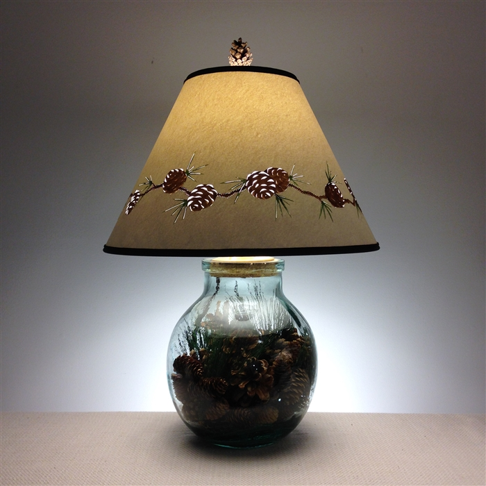 Large pine cone glass lamp