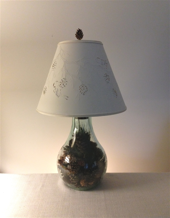 Pine cone lamp and shade