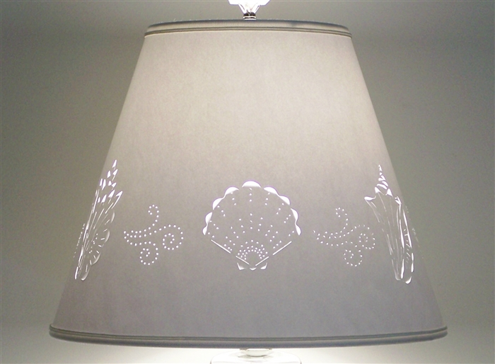 Cut pierced sea shell paper lampshade alternative views aloadofball Image collections