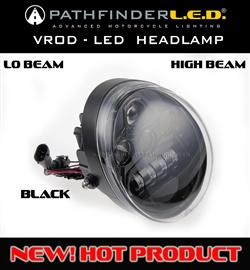 LO & HI BEAM LED HEADLAMP FOR V-ROD-CHROME OR BLACK