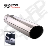 "Diamond Eye 4"" Polished 304 SS Diesel Exhaust Tip-Bolt on-Rolled Angle"