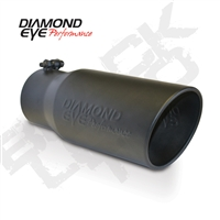 "Diamond Eye 4"" Black Powder Coated Stainless Steel Diesel Exhaust Tip-Bolt on-Rolled Angle"