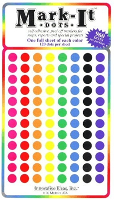 "960 stick-on dots 1/4"" map stickers"