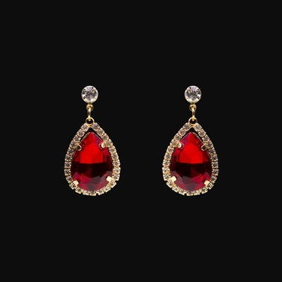 Oval Lab-Created Ruby and White Sapphire Drop Earrings in 10K Gold