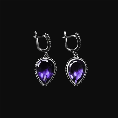 6.0mm Cushion-Cut Amethyst Drop Earrings