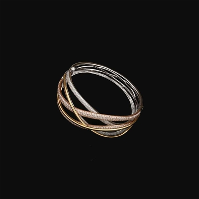 1/2 CT. T.W. Dual Bypass Bangle in 14K Gold
