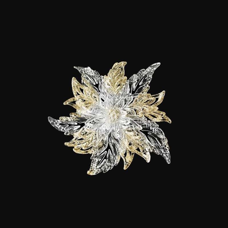 Brooch Crystal 14K Diamond Snowflake