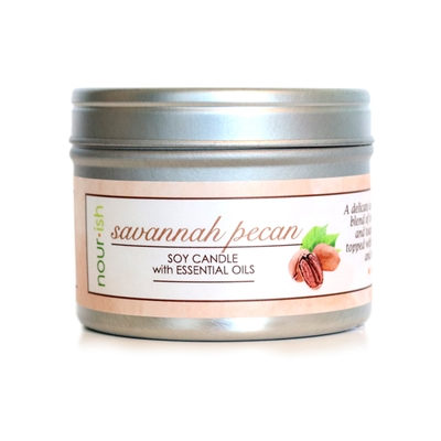 Savannah Pecan Travel Tin Soy Candle