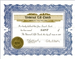 Certificate of Sainthood