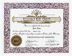Universal Life Church Ordination Certificate
