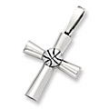 Sterling Silver Sports Cross Charm - Basketball