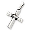 Sterling Silver Football Cross Pendant