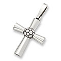 Sterling Silver Soccer Cross Pendant