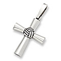 Sterling Silver Volleyball Cross Pendant