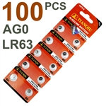 100 PCS AG0/LR36/SR63 Batteries