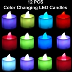 12 pcs color changing candles w/ holders