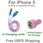 Pink Fun LED USB Charging Kit : Dual Port Car Charger for iPhone 5, 6, 7 or Plus