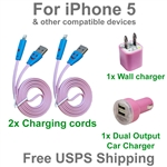 Fun LED USB Charging Kit : Cords + Wall & Dual Port Car Chargers for iPhone 5, 6, 7 or Plus.