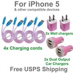 iPhone 5 Pink Fun LED USB Charging Kit : Cords + Wall & Dual Port Car Chargers for iPhone 5
