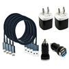4 x Charging Kits - Cords + Wall & Car Chargers for iPhone 6 5, 5s, 5c - Black