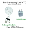 This is a set of a white flat sync cable & a white wall charger for Samsung, LG,and HTC cell phones.