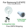 This is a set of a white flat sync cable & a white dual port car charger for Samsung, LG,and HTC cell phones.
