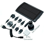 Portable USB Solar Charger 5000mAh Backup Battery - 8-Pin converter for iPhone 5