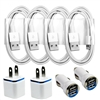 4x Sync / Charging Kit - Charge Cords + Wall & Car Chargers for iPhone 6 5s 5c 5