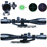 6-24x50 Hunting Rifle Scope Mil-dot illuminated Snipe Scope & GREEN Laser Sight