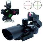 2.5-10X40 Tactical Rifle Scope w/ Red Laser & Mini Reflex 3 MOA Red Dot Sight