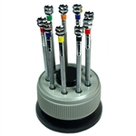 Precision Watch Screwdriver Set of 9 in Turret Holder w/ Extra Blades