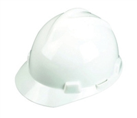 MSA White V-Gard Polyethylene Slotted Cap Style Bump Cap W/ 1 Touch Suspension