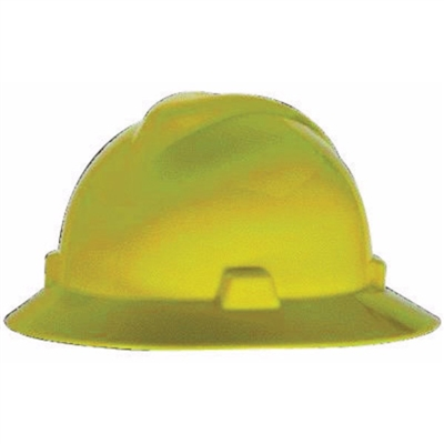 MSA Yellow V-Gard Polyethylene Slotted Full Brim Hard Hat W/ Fas Trac Ratchet Suspension