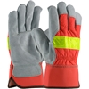 PIP 125-7563 Hi-Vis Split Leather Cowhide Palm Gloves