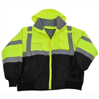Petra Roc LBBJ-C3 ANSI/ISEA Lime/Black Class 3 Waterproof Bomber Jacket W/ Removable Liner