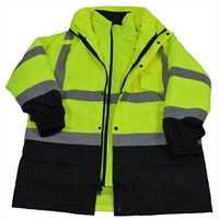 Petra Roc ANSI Lime/Black Two Tone Waterproof 6-IN-1 Jacket & Vest / Removable Hood (Two Class 3 Jackets In One)