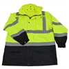 Petra Roc LBPJLW-C3 ANSI/ISEA 107-2010 Class 3 Lime/Black Waterproof Light Weight Rain Parka Jacket / Trench Coat & Optional 3-IN-1 Thermal Jacket