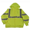 Petra Roc LSWS-C3 ANSI Class 3 Lime Green Zip-Up Sweat Shirt With Detachable Hood