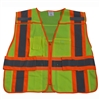 Petra Roc ANSI/ISEA Two Tone Expandable 5-Point Breakaway Public Safety Vest with Clear PVC Pocket on Back