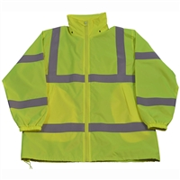 Petra Roc LWB-C3 ANSI Lime Green Class 3 Wind Breaker Jacket With Detachable Hood