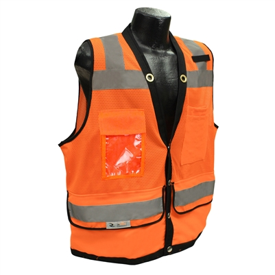 Radians SV59-2ZOD Class 2 Heavy Duty Surveyor Safety Vest, Orange