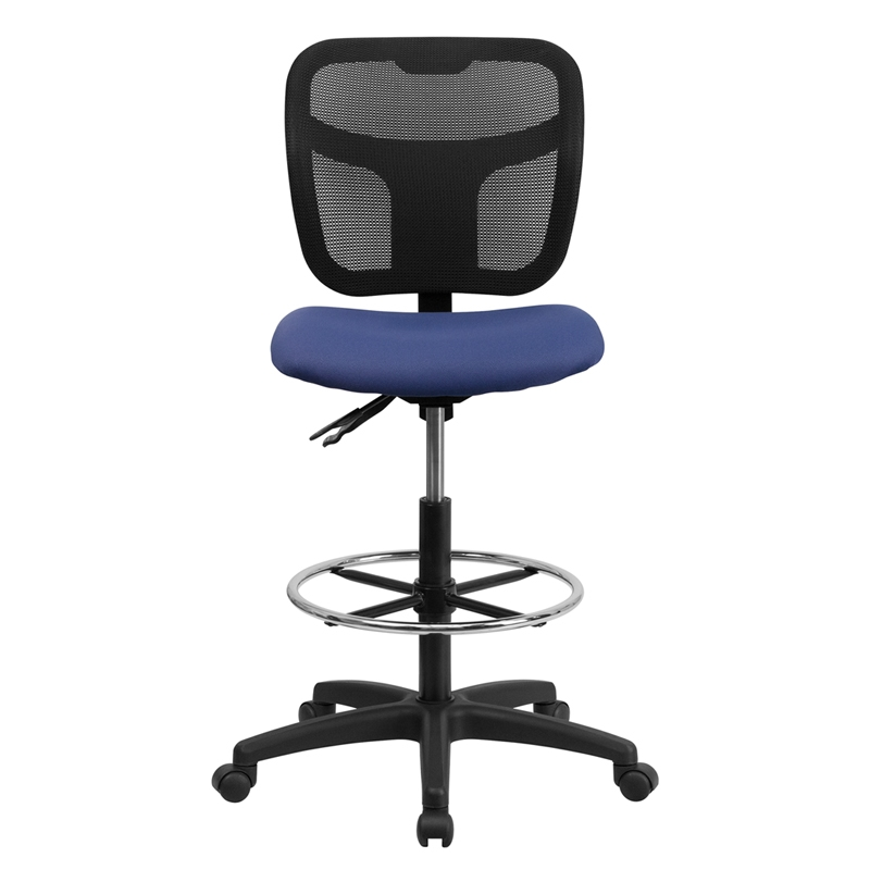 mid back mesh drafting stool with navy blue fabric seat